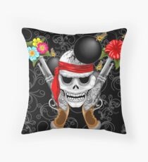 Pirate Skull, Ancient Guns, Flowers and Cannonballs Throw Pillow