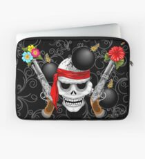 Pirate Skull, Ancient Guns, Flowers and Cannonballs Laptop Sleeve
