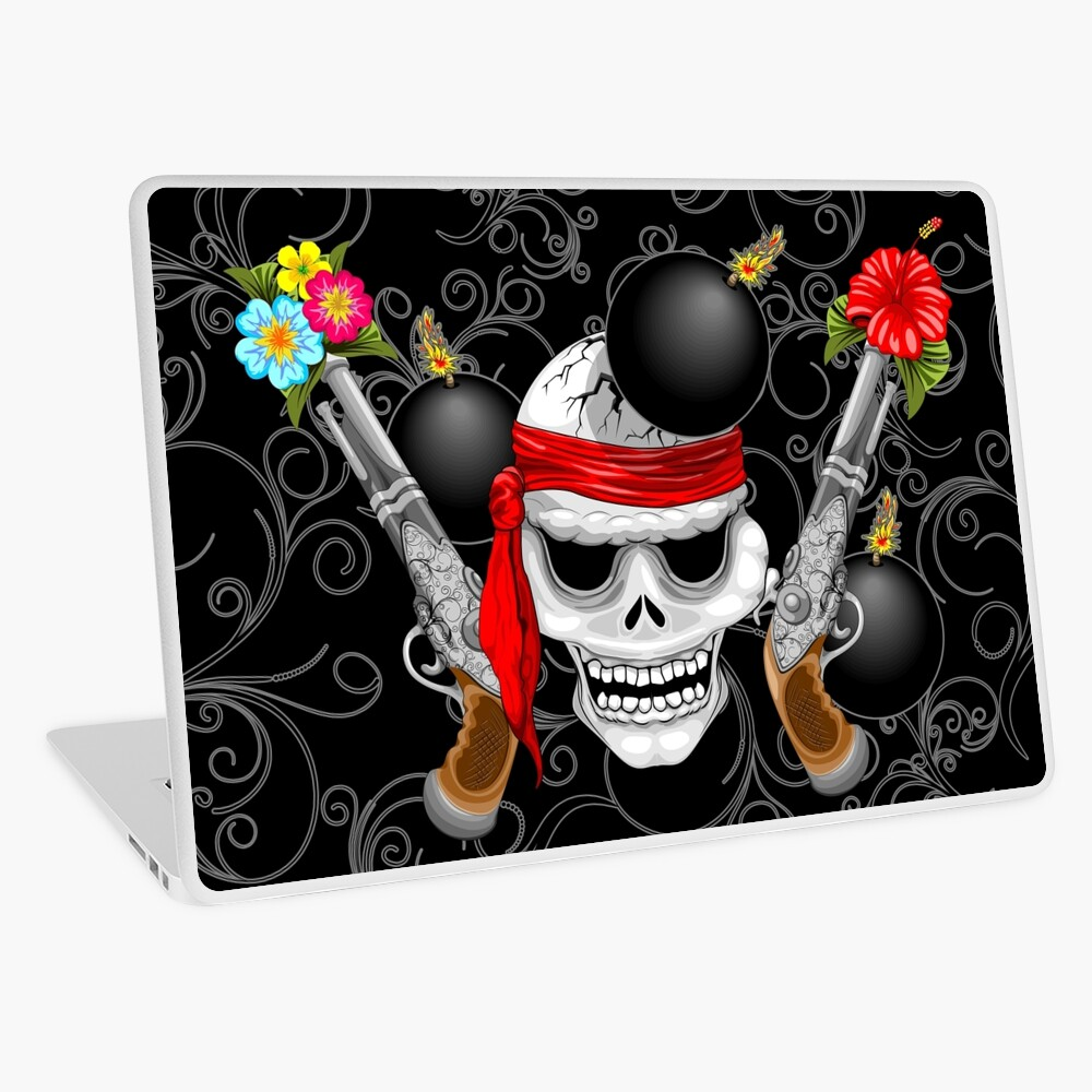 Pirate Skull, Ancient Guns, Flowers and Cannonballs Laptop Skin