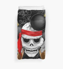 Pirate Skull, Ancient Guns, Flowers and Cannonballs Duvet Cover
