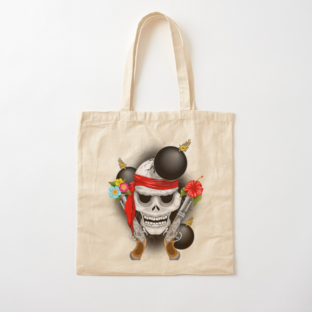 Pirate Skull, Ancient Guns, Flowers and Cannonballs Cotton Tote Bag