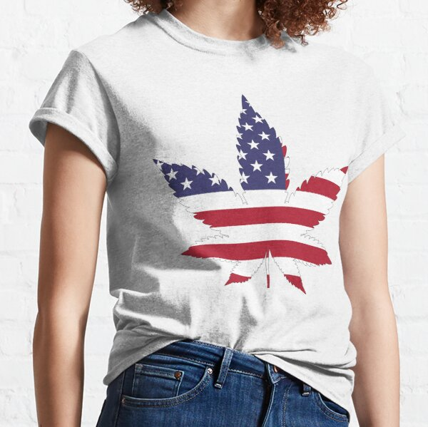US Flag and cannabis leaf Classic T-Shirt
