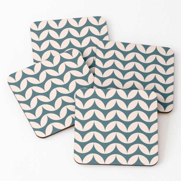 Mid Century Mod Geometric Pattern in Teal Blue and Blush Pink Coasters (Set of 4)