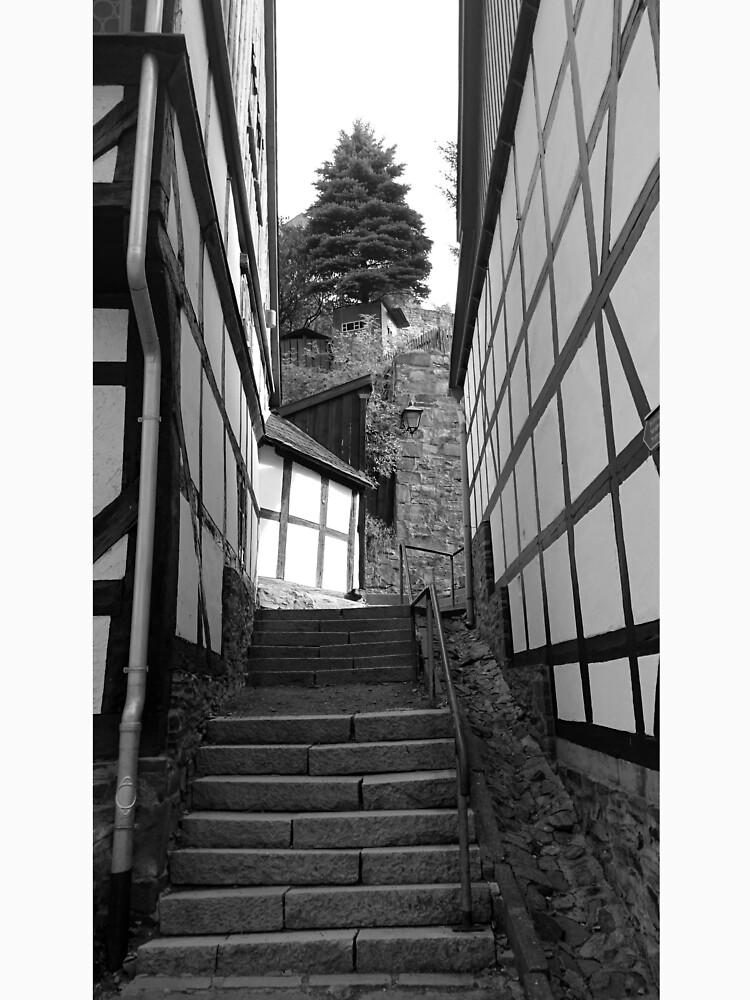 Gasse in Stolberg / Harz mit Treppe in schwarz-weiß von Gourmetkater