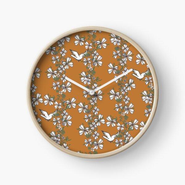 Bird Vine (Orange) Clock