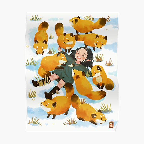 Snuggles with foxes Poster