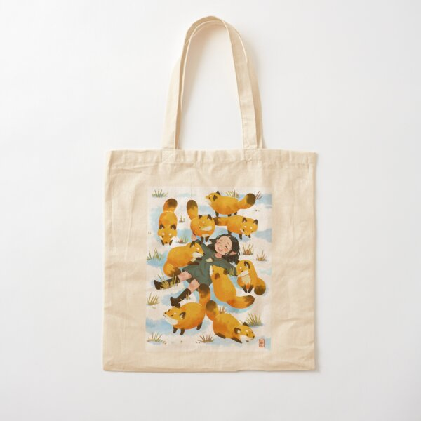 Snuggles with foxes Cotton Tote Bag