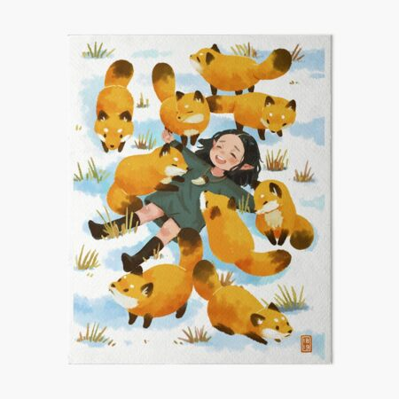 Snuggles with foxes Art Board Print