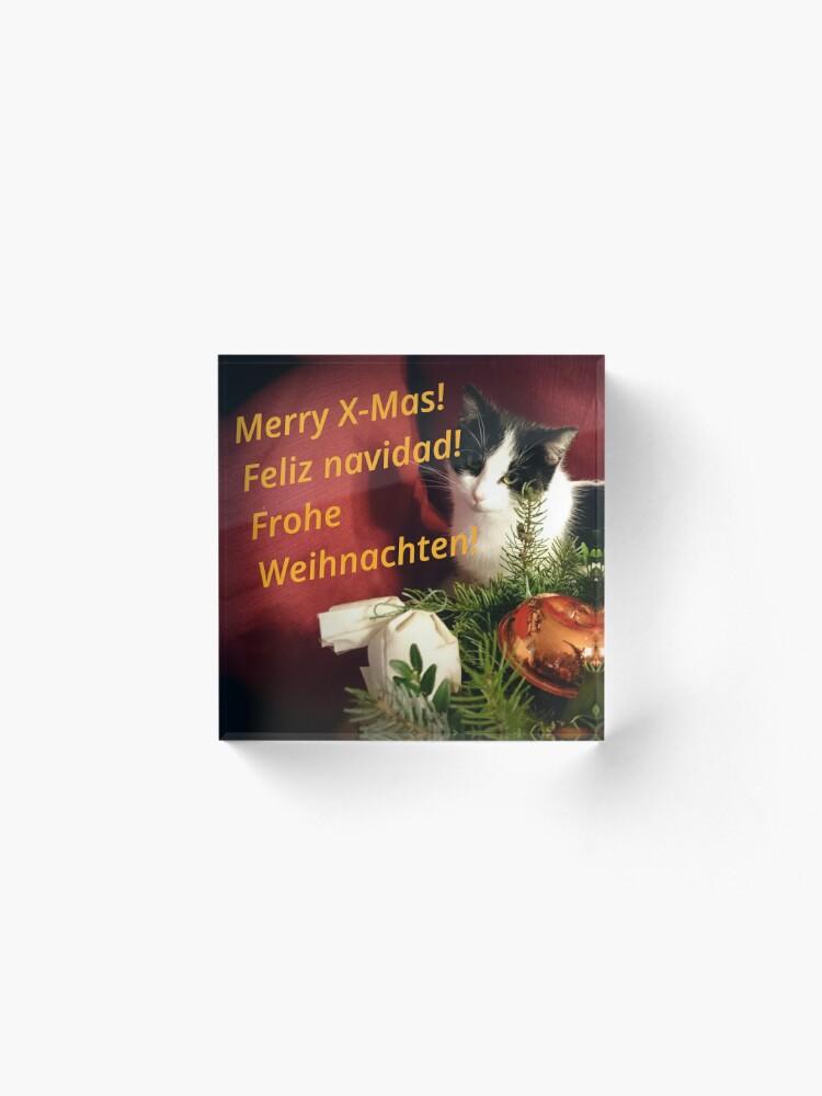 Alternative Ansicht von Katze Lilli mag Weihnachten - Merry XMas! Acrylblock