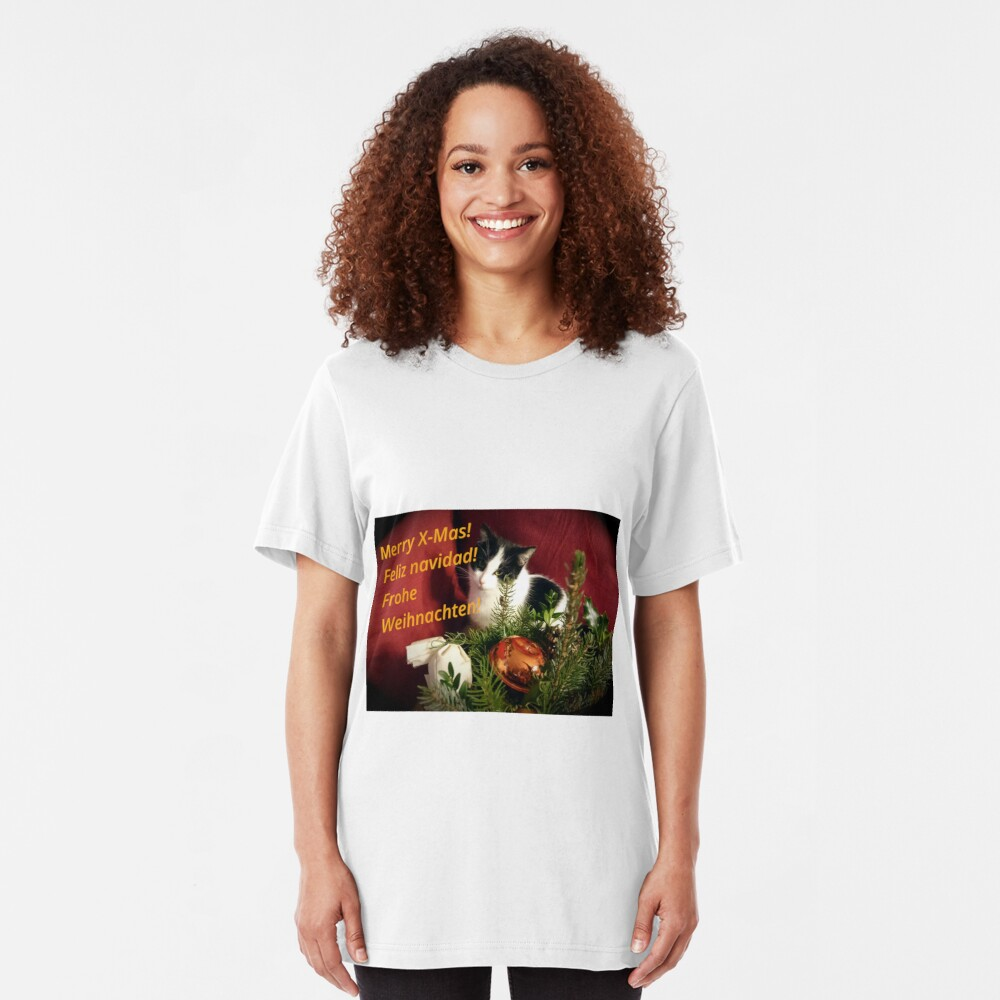 Katze Lilli mag Weihnachten - Merry XMas! Slim Fit T-Shirt