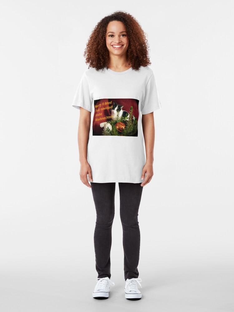 Alternative Ansicht von Katze Lilli mag Weihnachten - Merry XMas! Slim Fit T-Shirt