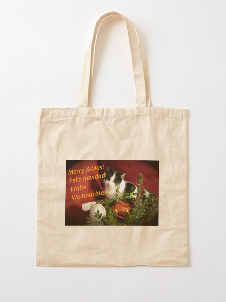 Alternative Ansicht von Katze Lilli mag Weihnachten - Merry XMas! Stofftasche