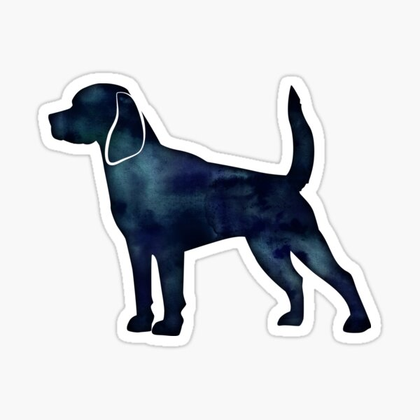 Beagle Dog Breed Silhouette Black Indigo Blue Watercolor Sticker