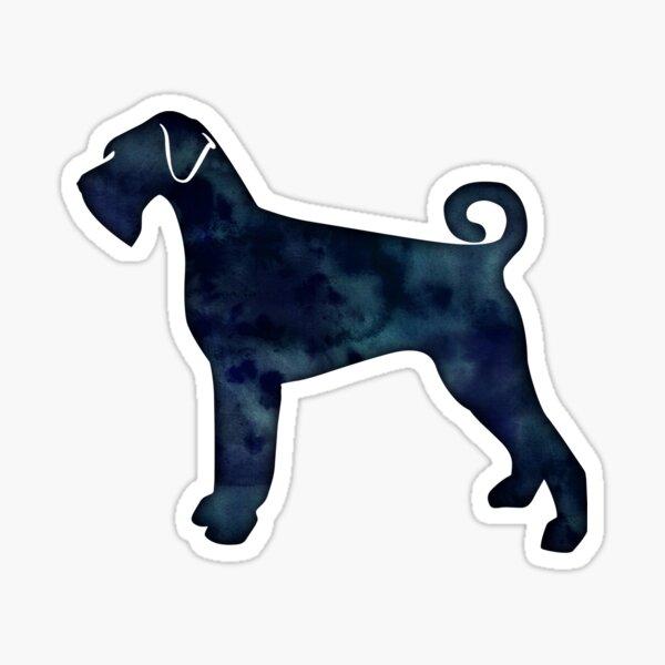 Giant Schnauzer Dog Breed Silhouette Black Indigo Blue Watercolor Sticker