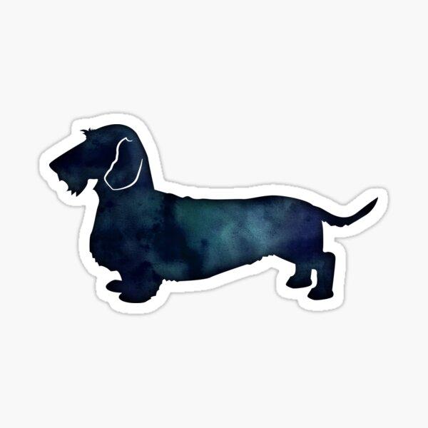 Rough Dachshund Dog Breed Black Indigo Blue Watercolor Sticker