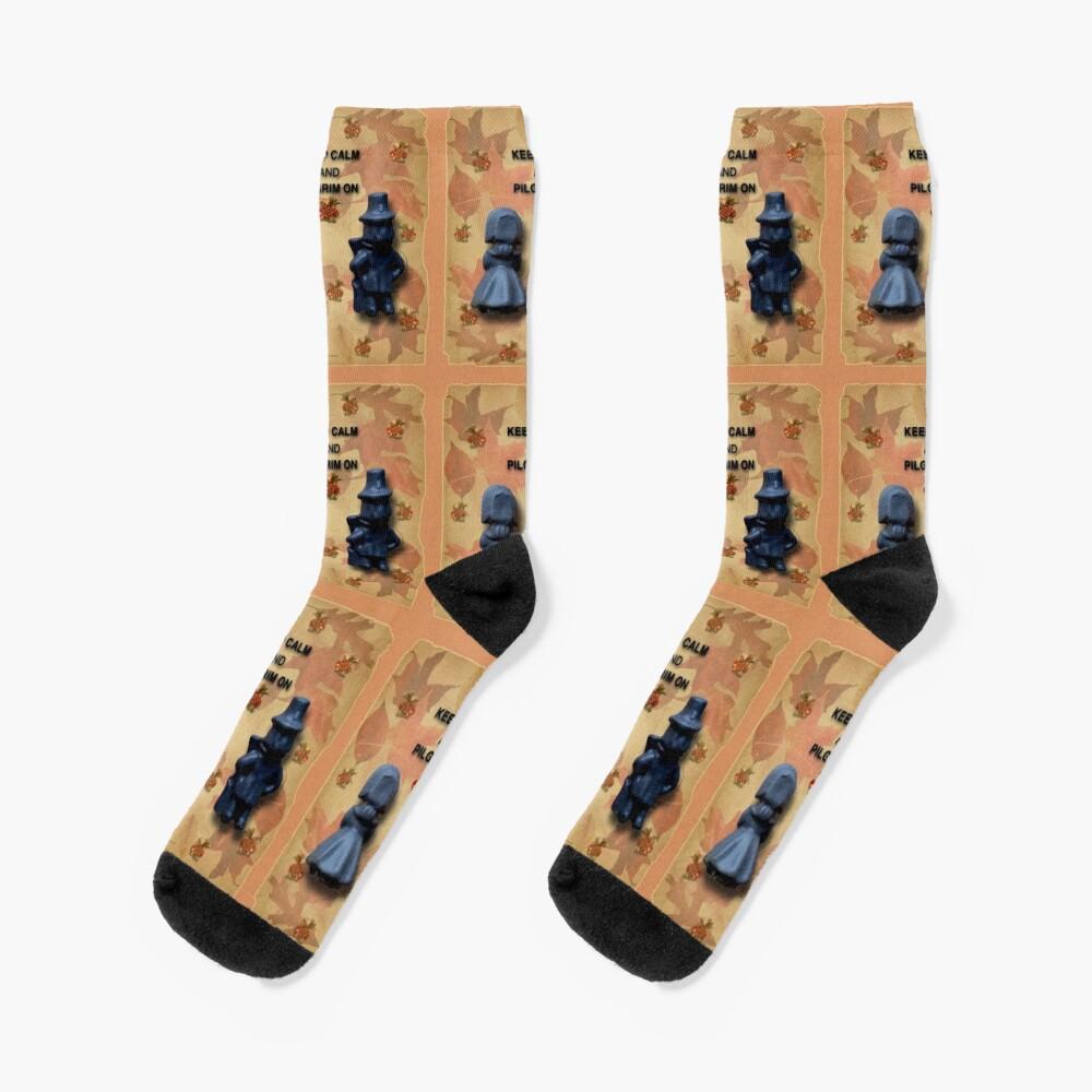 Keep Calm And Pilgrim On Socks