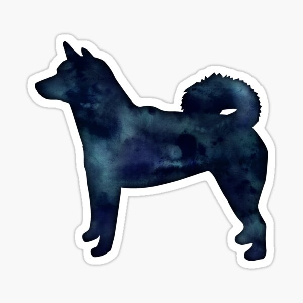 Shiba Inu Dog Side View Silhouette Black Indigo Blue Watercolor. Sticker