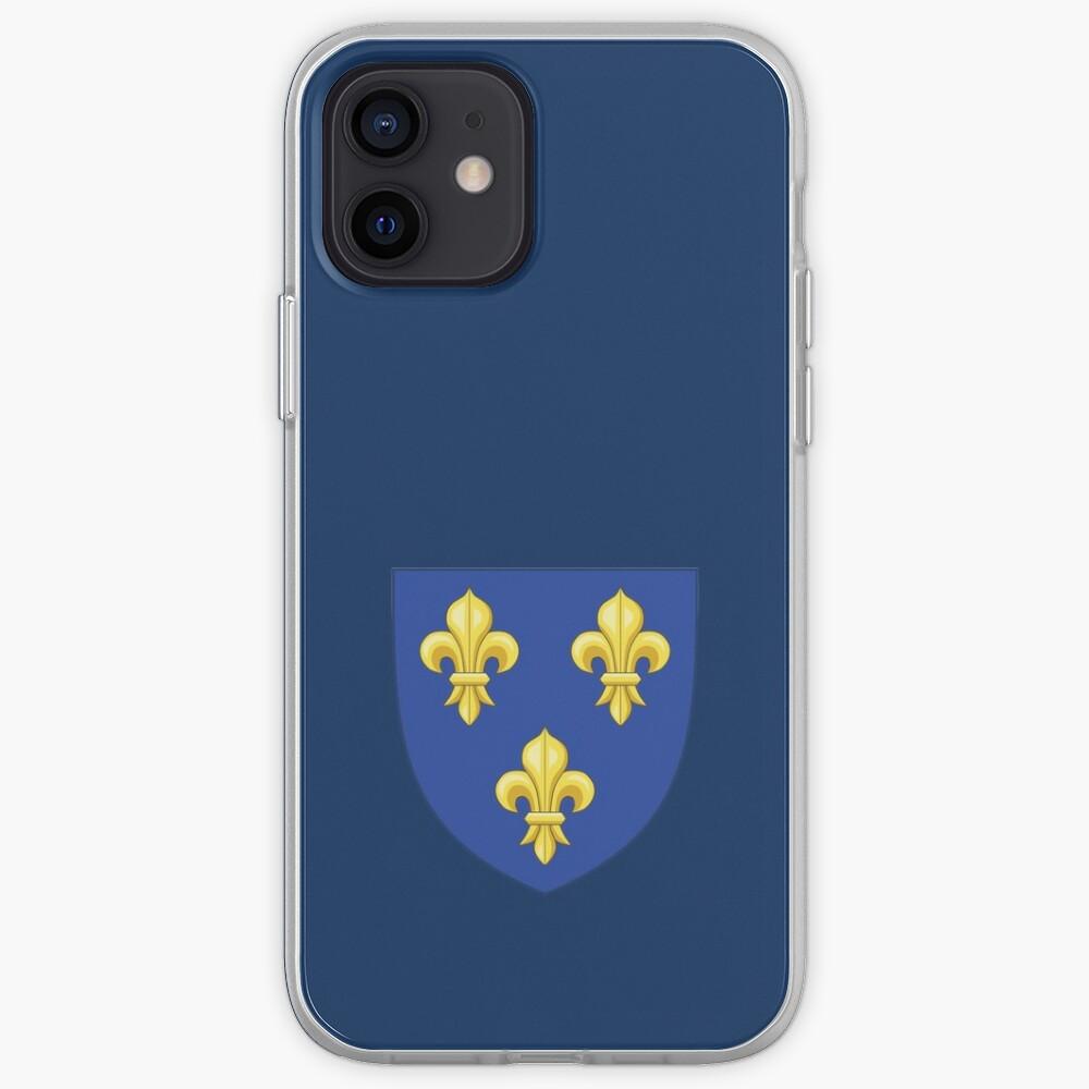 Blason Royal Moderne de France 3 fleurs de lys lis doré jaune sur écusson médiéval bleu du Roi de France HAUTE QUALITÉ   Coque iPhone
