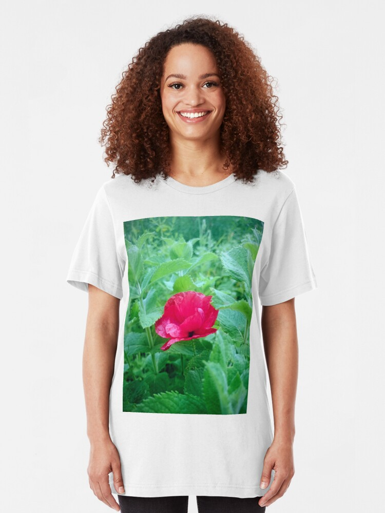 Alternative Ansicht von Mohn in Minze Slim Fit T-Shirt