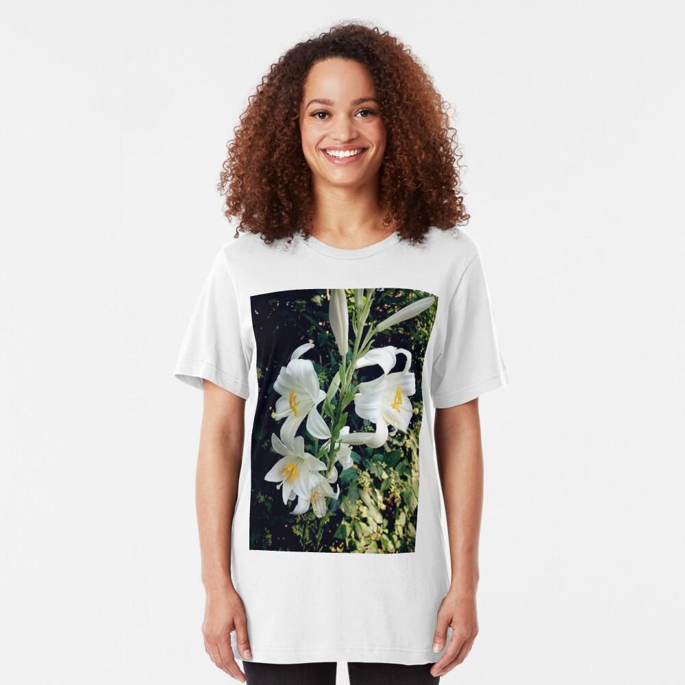 Weiße Lilie Slim Fit T-Shirt