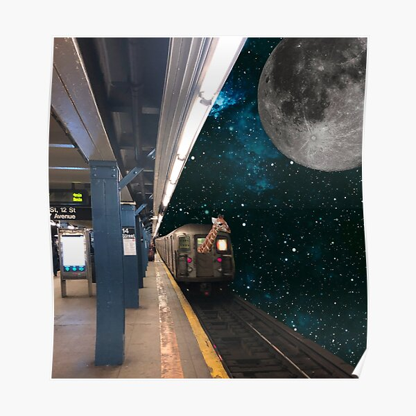 Giraffe to the Moon Poster