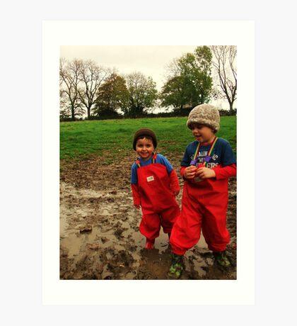 Muddy Play on the farm! Art Print