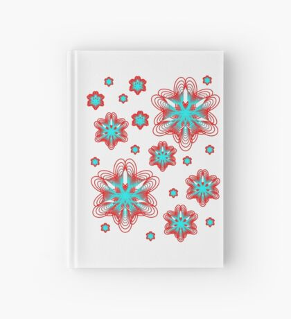 Spirographs with red and blue pattern Hardcover Journal
