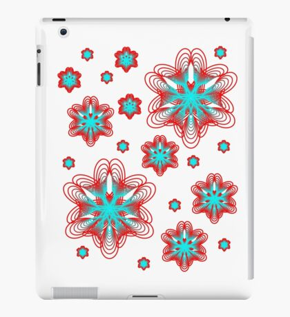 Spirographs with red and blue pattern iPad Case/Skin