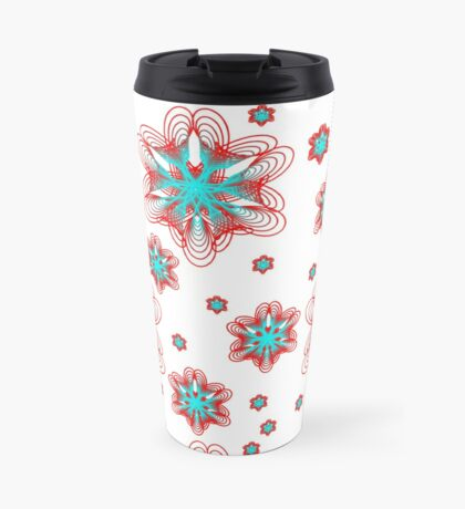 Spirographs with red and blue pattern Travel Mug