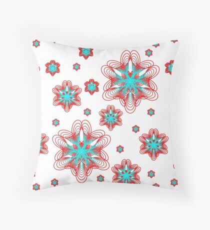 Spirographs with red and blue pattern Throw Pillow