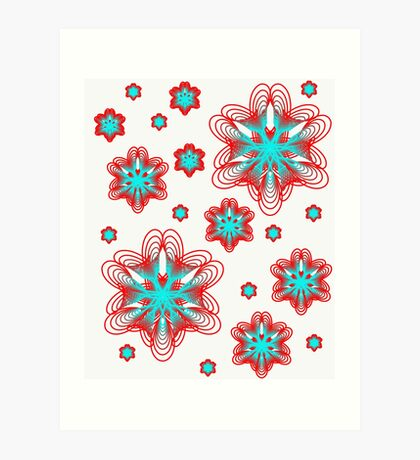 Spirographs with red and blue pattern Art Print