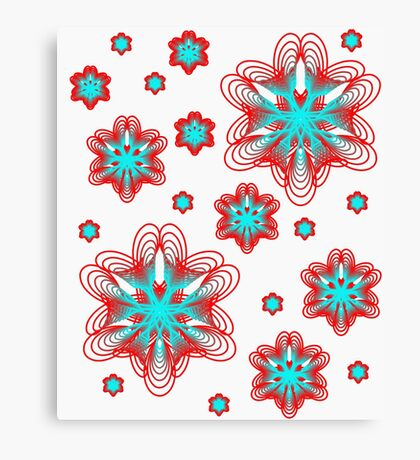 Spirographs with red and blue pattern Canvas Print