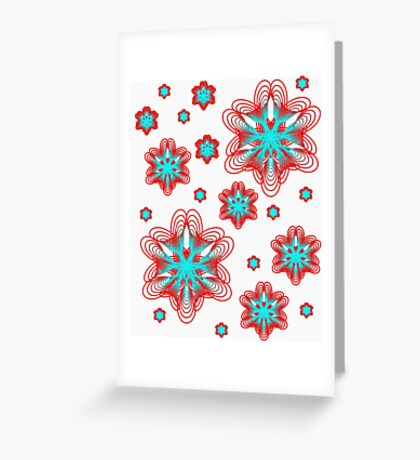 Spirographs with red and blue pattern Greeting Card