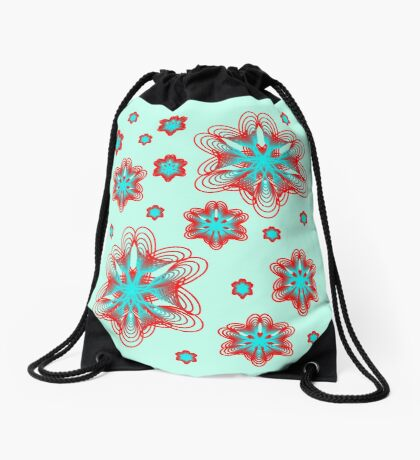 Spirographs with red and blue pattern Drawstring Bag