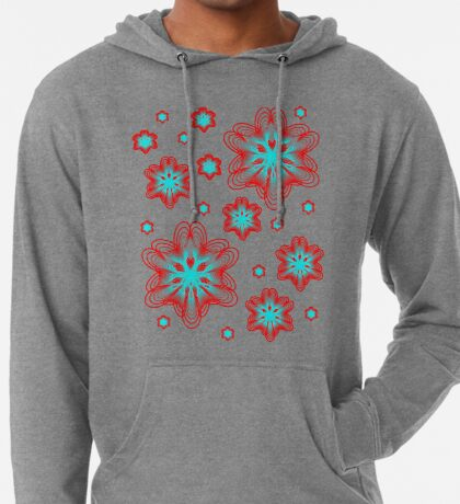 Spirographs with red and blue pattern Lightweight Hoodie
