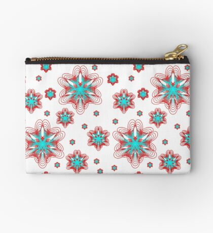Spirographs with red and blue pattern Zipper Pouch