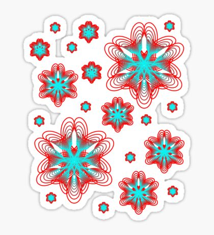 Spirographs with red and blue pattern Sticker