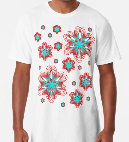 Spirographs with red and blue pattern Long T-Shirt
