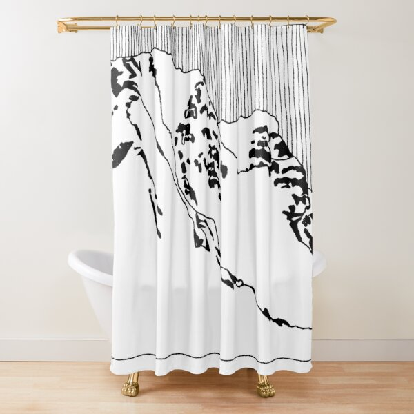 Iceland Series - The Challenging Horizon (Black Ink) Shower Curtain