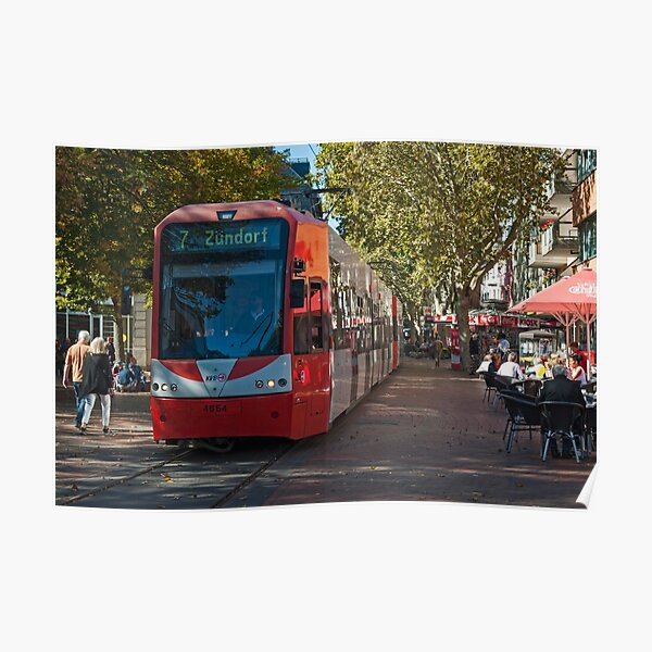 Tram passing through the pedestrian zone, Frechen, Near Cologne, Germany. Poster