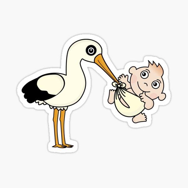 stork with newborn bay Sticker