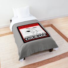 Beware Of Dog Sign - Courage The Cowardly Dog - Protected by Courage Comforter