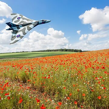 Avro Vulcan B2 bomber over a field of red poppies by GrahamPrentice