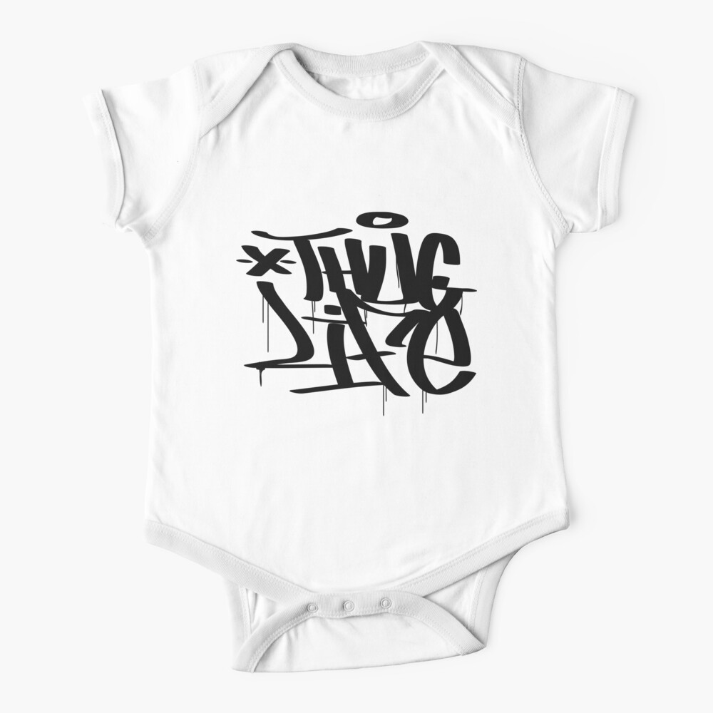 Black Thug Life Printed Baby Sleepsuit Onesie By Little Happy Faces 0-3 Months