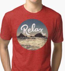 Relax Hipster Beach Typography Tumblr Boho Photo Tri-blend T-Shirt