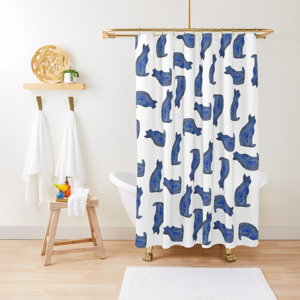 Blue cat | watercolor painting Shower Curtain