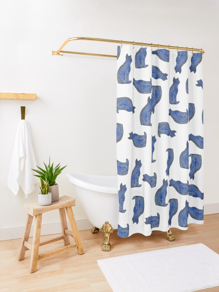 Alternate view of Blue cat | watercolor painting Shower Curtain