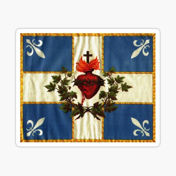 Quebec flag drapeau Québec Patriote Carillon Sacré-Cœur Christian Catholic old vintage edition with fleurs de lys HD HIGH QUALITY Sticker