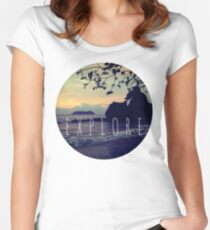 Explore Costa Rican Beach Ocean Tumblr Pastel Quote Print Women's Fitted Scoop T-Shirt