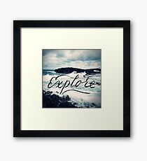 Explore Beach Wave Ocean Typography Photo Framed Print